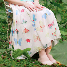 LYNETTE'S CHINOISERIE Summer Original Design Women High Quality Butterfly Print Bamboo Ultralarge Hem Mori Girls Chiffon Skirt