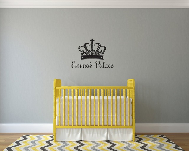 Creative Modern Personalized Name Wall Decal Vinyl Sticker Crown ...