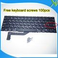"""Brand New Small Enter RS Russian keyboard+100pcs keyboard screws For MacBook Pro Retina 15.4"""" A1398 2013-2015 Years"""