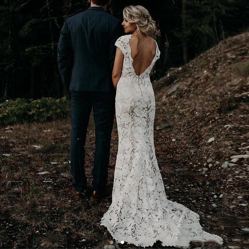 Ivory Lace Garden Boho Wedding Dresses 2020 Vintage V Neck Country Beach Bridal Gowns Vestido De Novia Low Back Mermaid Sukienki