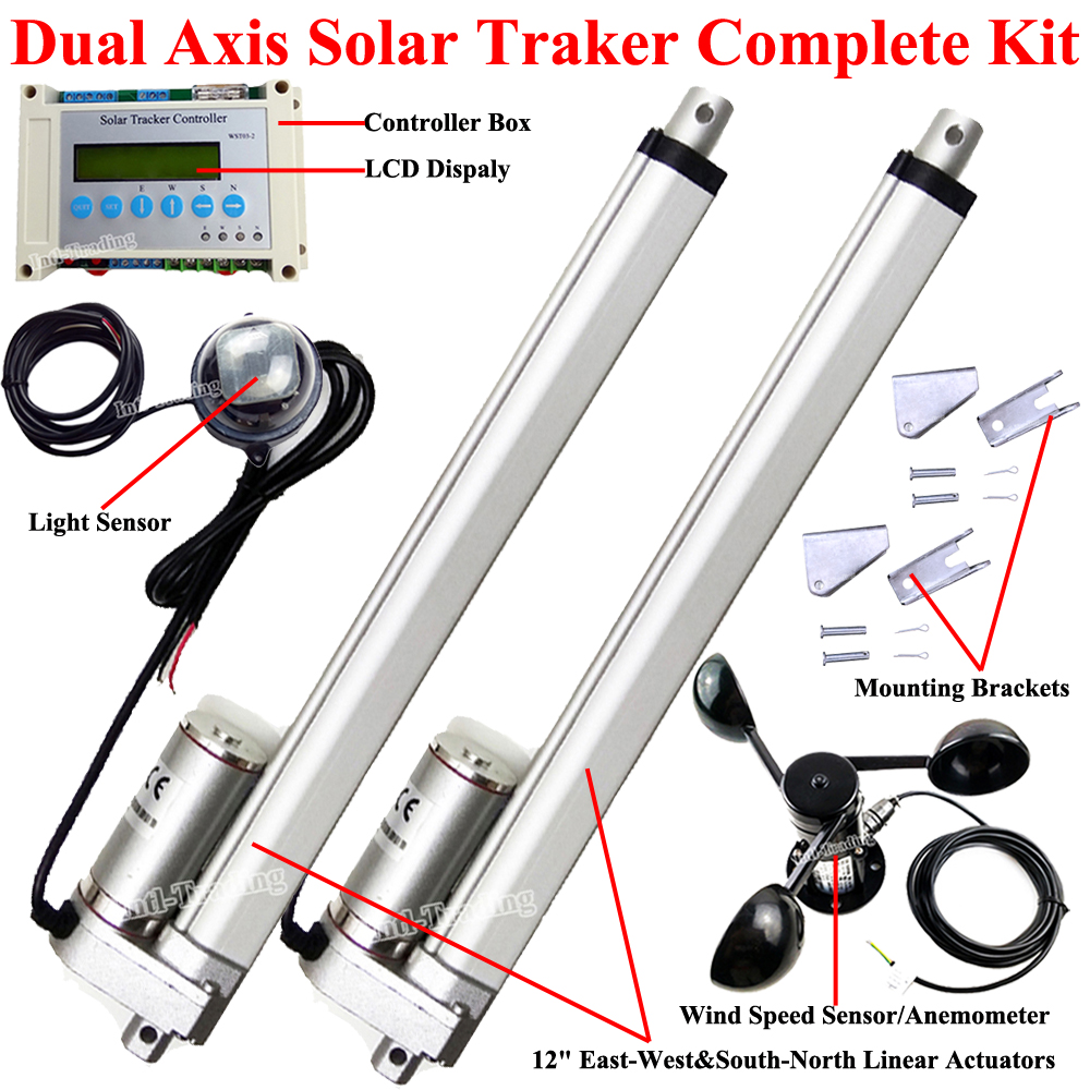 Set Of Solar Tracking Tracker 212 Linear Actuator Motor W Lcd Controller Anemometer Complete Dual Axis Sunlight Track Kits In Dc From Home