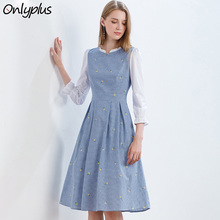 Onlyplus Autumn Flower Embroidered cotton dress casual Slim Elegant Party Women Dresses Casual Fashion Plaid Vestidos