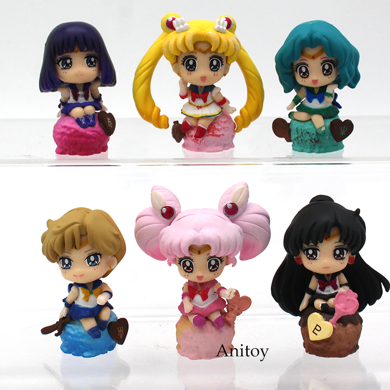Sailor Moon Ice Cream 6pcs/set Chibi Usa Tenoh Haruka Kaiou Michiru Tomoe Hotaru Meiou Setsuna PVC Figure Model Toy 5cm KT3794