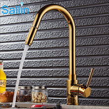 Luxury Gold  Single Handle Kitchen Faucet Pull Out Sprayer 360 Rotatable Single Hole Sink Mixer Tap