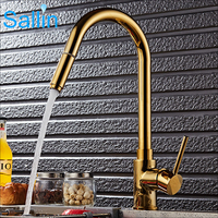 Luxury Gold Kitchen Faucet Pull Out Down 360 Rotatable Spray Shower Head Hot Cold Kitchen Sink