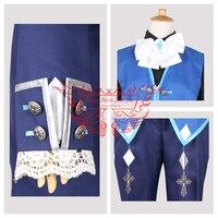Аниме elsword Ciel Косплэй костюм синее пальто + жилет + Брюки для девочек + Талия цепи + рубашка + галстук + бесплатная доставка G