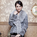 2016 Autumn Winter Women's Genuine Natural Rabbit Fur Coats Fox Fur Collar Female Slim Short Outerwear VF0018