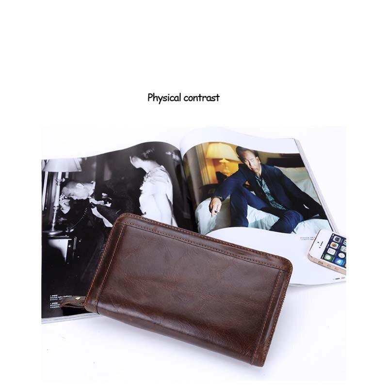Marka portfel mężczyźni prawdziwej skóry portmonetka mężczyźni portfel na karty kredytowe portfel portfel z saszetką na karty mężczyzna zamek w stylu Vintage portfele w Portfele od Bagaże i torby na  Grupa 2