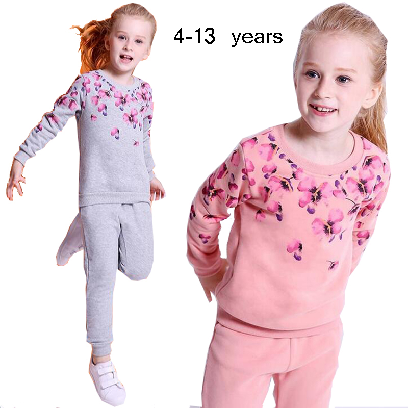 2018 Spring Autumn Kids Girls Cothing Set Floral Hoodies+Pants Two-piece Sports Tracksuit Suit Sets For Children Girls Clothes 5