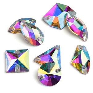 Image 4 - 도매! 8 종류 AAAAA 크리스탈 AB 색상 황금베이스 라인 석 비즈에 바느질, 돌에 바느질 스페이서 버튼 의류 쥬얼리에 대한