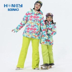 Image 1 - Combinaison de Ski pour mère et fille, imperméable et coupe vent pour faire du snowboard + pantalon, vêtements dhiver pour adultes et enfants