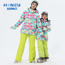 Mother Girls Ski Suits Warm Waterproof Windproof Children Skiing Snowboarding Jackets+ Pant Winter Adult Kids Ski Clothing Suit