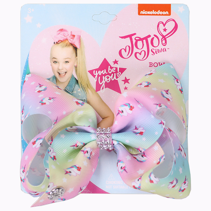 JoJo Bows Hair Bows Handmade Printed Ribbon Unicorn Beautiful Pattern With Alligator Clips Hairgrips Hair Accessories For Girls in Hair Accessories from Mother Kids