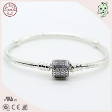 High Quality Authentic 925 Sterling Silver Snake Charm Bracelets With CZ Pave Clip Clasp For European Famous Silver Beads