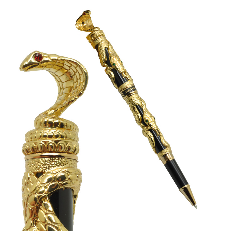 Jinhao Roller Ball Pens Golden Snake 3D Pattern Ballpoint Pen with Original Wood Box Free Shipping jinhao vintage style 3d snake pattern ballpoint pen 0 7mm roller ball pens free shipping