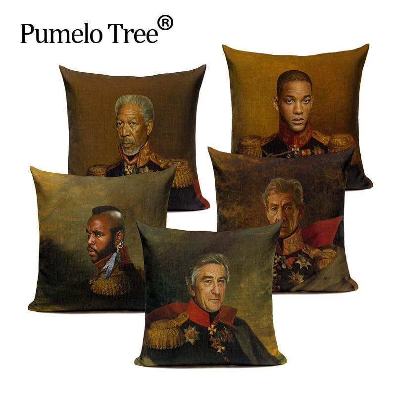 Famous People Portrait Oilpainting Replaceface Cushion Cover Throw Pillow Cotton Linen Pillow Case Sofa decor Car Bedroom Custom