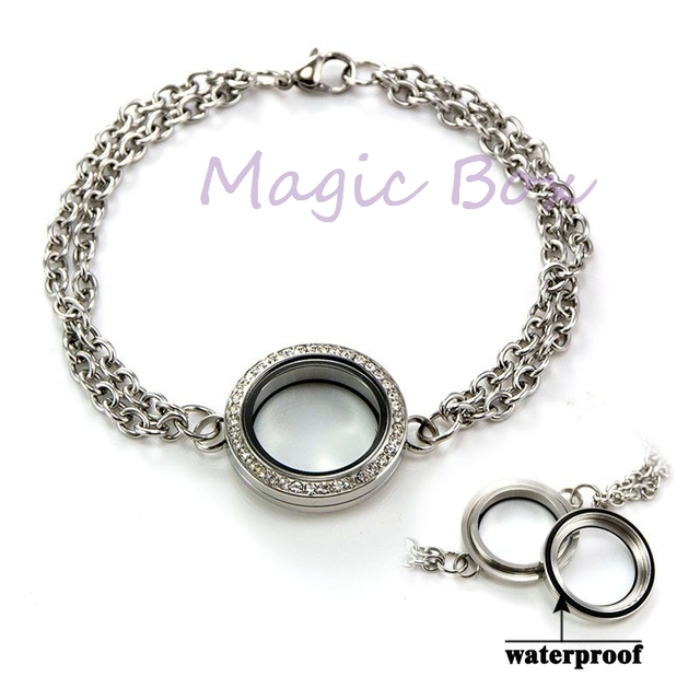Fashion 25mm Floating Charm Locket Bracelet 316l Stainless Steel Link Chain Crystal Women