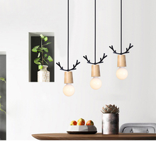 Nordic Wooden Hanging Lamp Pendant Lighting Fixtures Loft Decor Antlers Modern Ceiling Wood Child Kids Room Bedroom