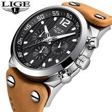 LIGE montre de sport pour hommes, chronographe de marque de luxe, équitation en plein air, horloge militaire, étanche en cuir, Quartz de mode