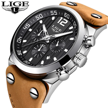LUIK Top Luxe Merk Chronograaf Sport Horloges Outdoor Riding Militaire Klok Leer Waterdicht Quartz Mode Horloge Mannen