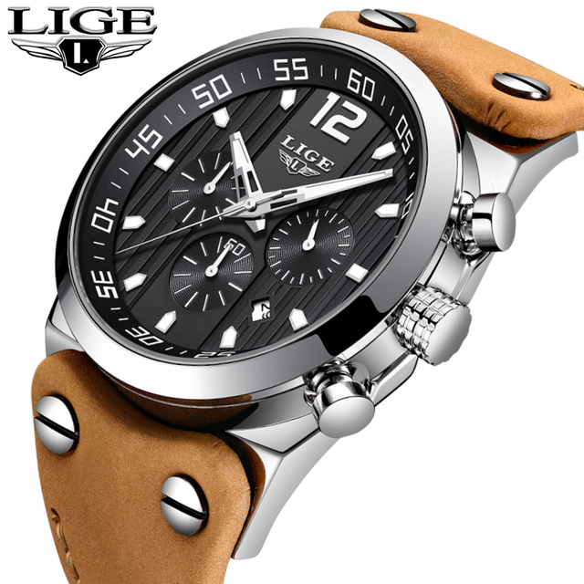 LUIK Top Luxe Merk Chronograaf Sport Horloges Outdoor Riding Militaire Klok Leer Waterdicht Quartz Mode Horloge Mannen
