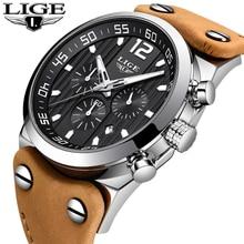 Reloj deportivo con cronógrafo de marca de lujo LIGE, relojes de conducción al aire libre, reloj militar del ejército, reloj de cuero resistente al agua, reloj de cuarzo moda para hombres