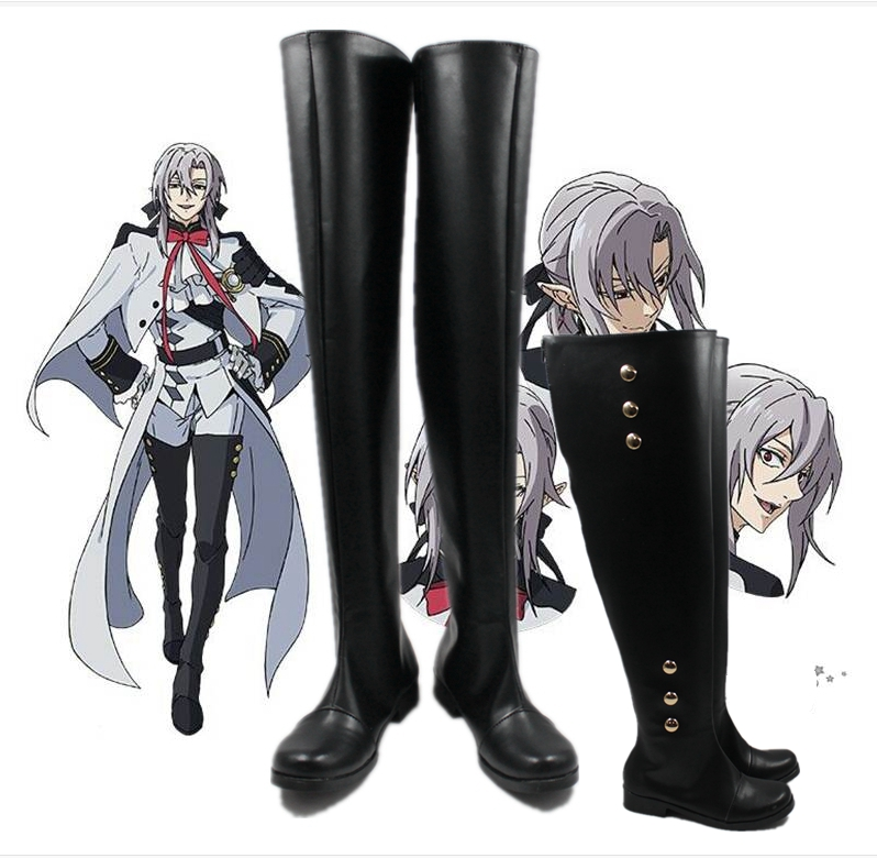 Seraph of The End Anime Mikaela Hyakuya//Ferid Bathory Cosplay Shoes Boots Custom Made
