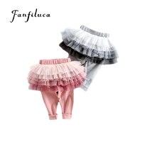 Fanfiluca для 3-7 лет Юбки и штаны для девочек осень-весна детские леггинсы юбка-пачка детей зауженные книзу брюки узкие брюки хлопковые штаны
