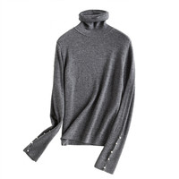 Шерсти и полиэстера водолазка вязать женские новые Модный пуловер свитер пряжки рукавом черный 4 цвета M/L