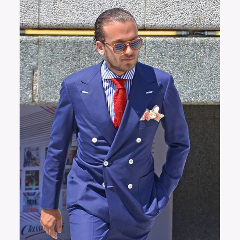 Discreet New Arrivals Blue Mens Suits Groom Tuxedos Groomsmen Wedding Party Dinner Best Man Suits (jacket+pants+tie) W:58 To Win A High Admiration And Is Widely Trusted At Home And Abroad.
