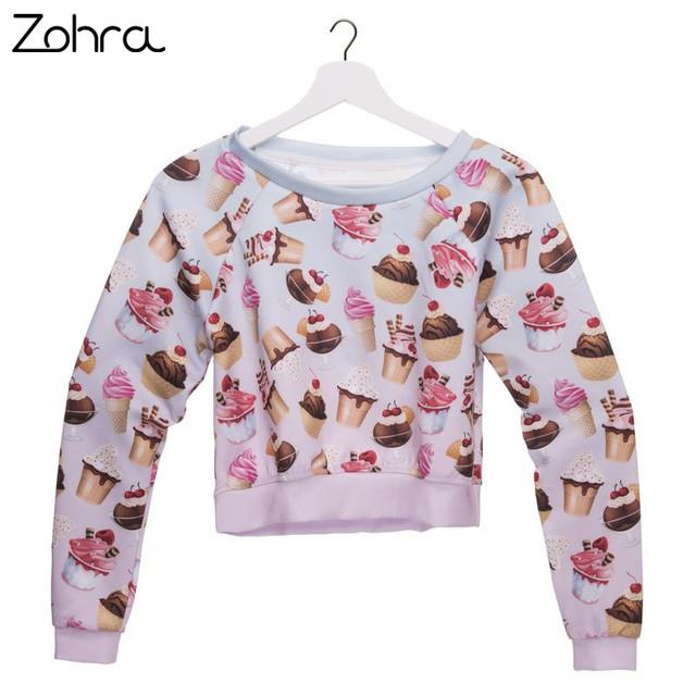 fbbf31f004e671 Women Sweatshirt Dessert 3D Printed Hoodies Pullover Sexy Beach Nightclubs  Party Crop Sweatshirts
