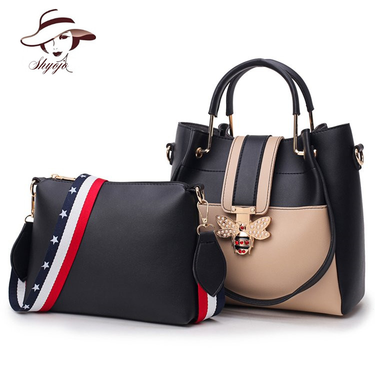 Famous Brand 2PCS Set Women Composite Messenger Bag Bee Diamonds Panelled Leather Handbag Female Shoulder Bags Top-handle Bolsas