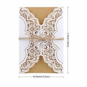 Image 3 - 50 adet kağıt lazer kesim düğün davetiyeleri kart kitleri zarflar ile doğum günü hediyesi tebrik kartları düğün dekor parti malzemeleri