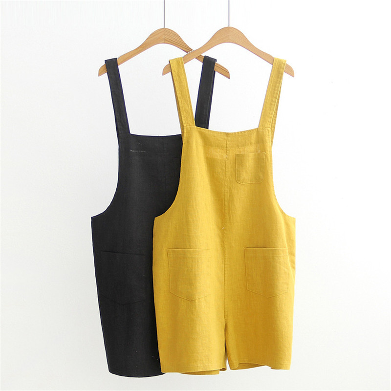 Fahshion Women 2018 Summer Dungarees Casual Pocket Yellow Black Cotton Linen Female Jumpsuits Loose Wide Leg Solid Romper