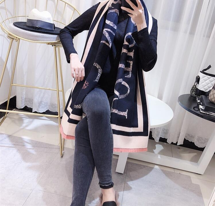 2019 Autumn And Winter Women's Scarf Thickened And Warm Double-sided Cashmere-like Wool Shawl 68064