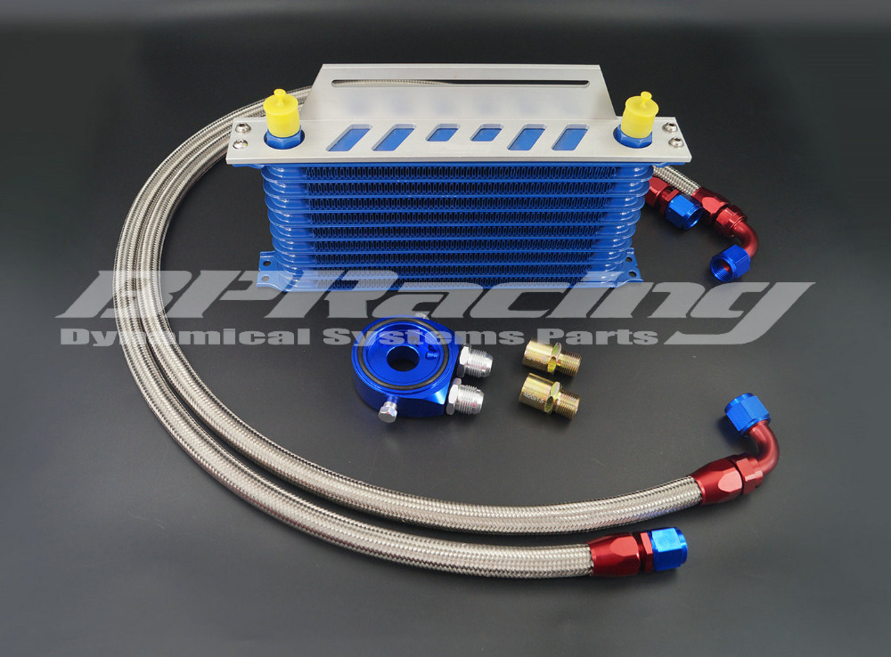 ФОТО OIL COOLER KITS ( TRUST TYPE ) 10 ROWS / UNIVERSAL OIL COOLER KIT + MOUNTING BRACKET
