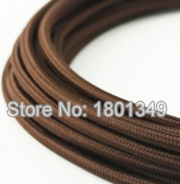 10m brown textile fabric wire fabric cable covers vintage diy lamps electrical cable