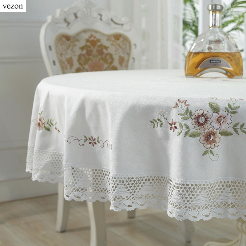 vezon Hot Selling Round Elegant Cotton Embroidery Tablecloths Embroidered Table Cloth with Lace Linen Towel Covers ...