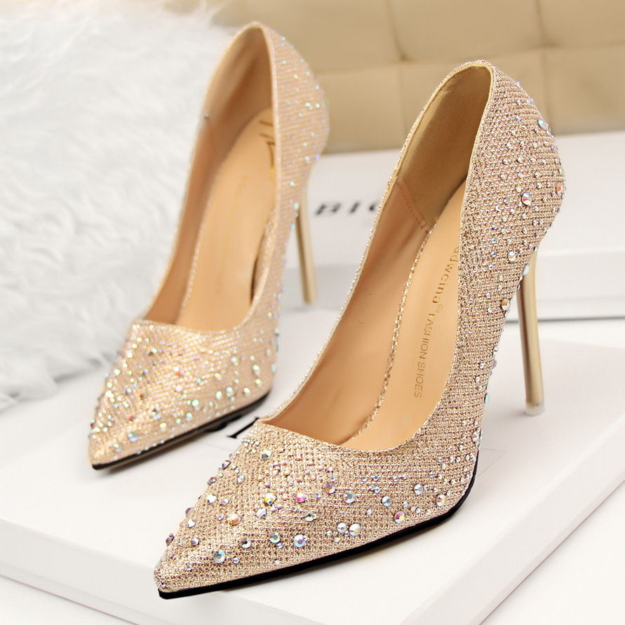 New Fashion Sexy Women Silver Rhinestone Wedding Shoes Platform ...