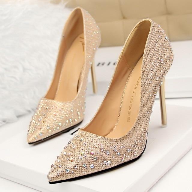 New Fashion Sexy Women Silver Rhinestone Wedding Shoes Platform Pumps Red  Bottom High Heels Crystal Shoes