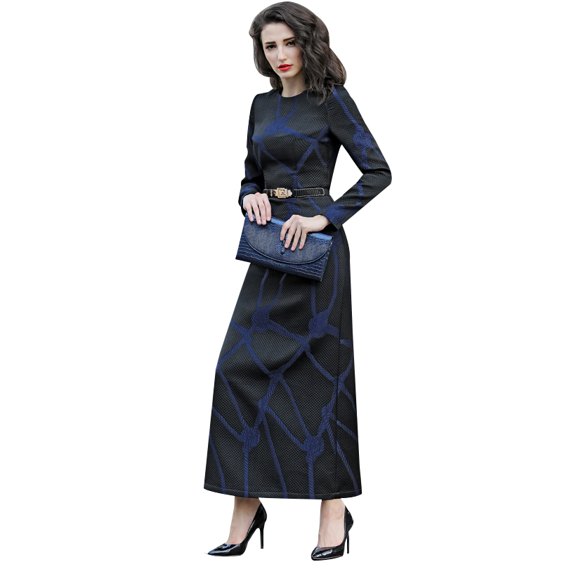 S 3XL Fall Winter Textured Slim Fit X Long Dress Long Sleeve O neck Office Lady Work Dresses Plus Size Women Clothing 5855