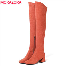 MORAZORA Size 34-43 HOT 2018 Hot sale women boots autumn winter over the knee boots round toe flock leather thigh high boots