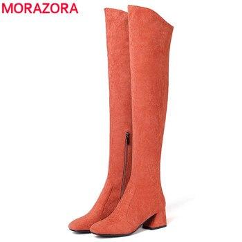 MORAZORA rozmiar 34-43 gorąca 2018 HOT sprzedaż kobiety buty jesień zima nad kolana buty okrągłe toe stado skóry uda wysokie buty