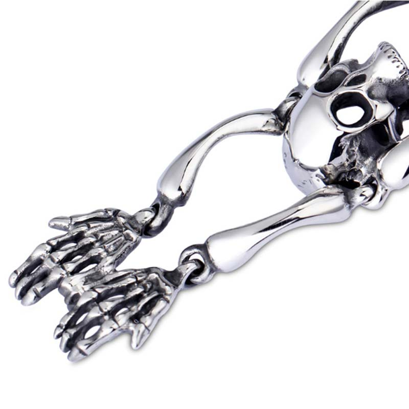 Bracelet squelette en acier inoxydable bijoux gothiques Punk pour hommes bijoux masculins en titane - 4