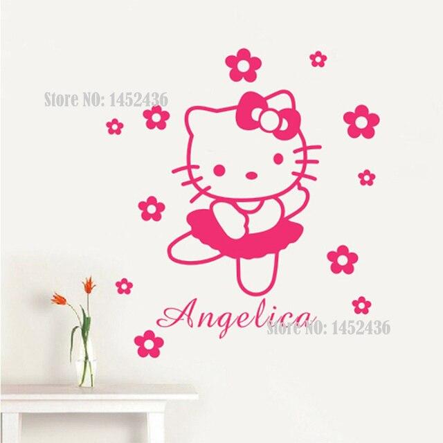 Vinilos Hello Kitty Pared.10 71 Hello Kitty Personalizados Nombre Flores O Lazos Vinilo Etiquetas De La Pared Del Arte Adesivo De Parede Princesa Pegatinas De Pared Ninas