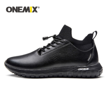 ONEMIX Men Running Shoes for Women Black Microfiber Leather Jogging Sneakers Outdoor Sport Socks Walking Trainers