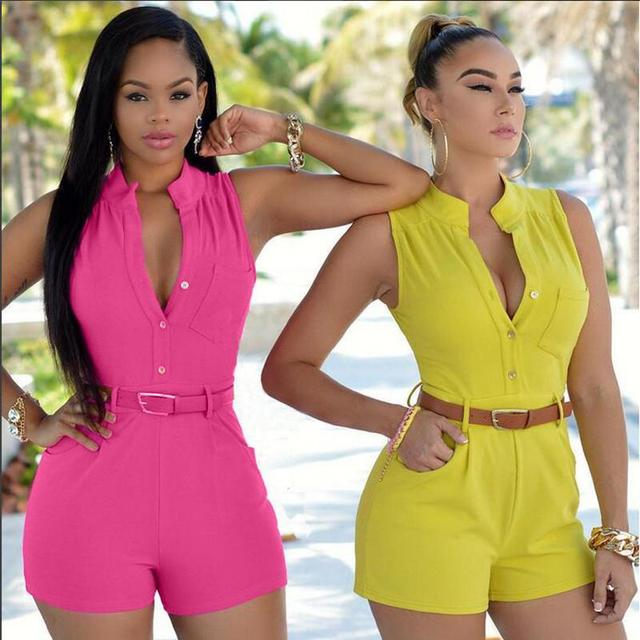 2019 New Style Rompers Womens Casual Jumpsuits Large Size Deep V-neck Overalls for Women Rompers Polyester  Bodysuits with Belt 2