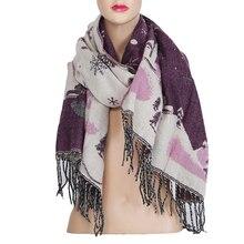ce8c3275c9cc De noël Écharpe pour Femmes Neige Imprimé Wraps Châle Écharpes D hiver Châle  Foulards Femmes