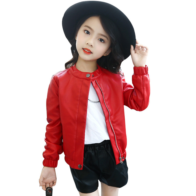 Kids Girls Leather Jacket Spring Autumn Children Faux Leather Jackets Girls Casual Solid Outerwear Jacket RT063 qiumei winter women fur bomber hats real raccoon fur brown wine trapper hats caps pompom male russian bomber hat genuine fur