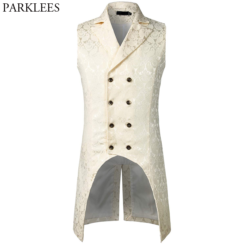 Mens White Floral Jacquard Double Breasted Steampunk Vest Sleeveless Lapel Long Vest Men Punk Rock Gothic Stage Cosplay Costume